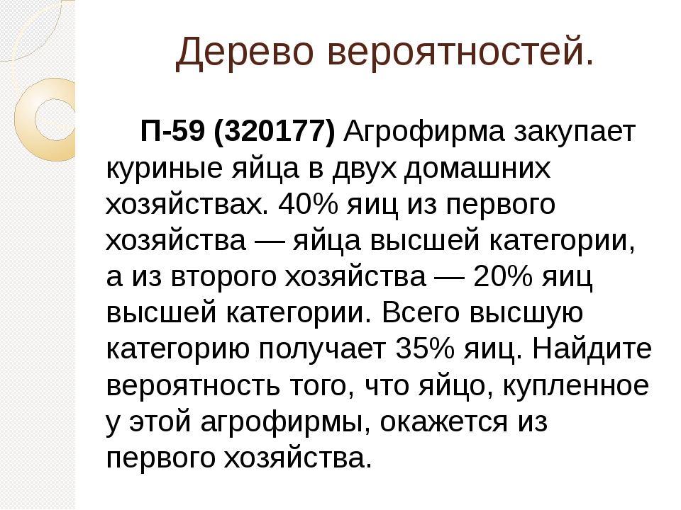Дерево вероятностей. П-59 (320177) Агрофирма закупает куриные яйца в двух дом...