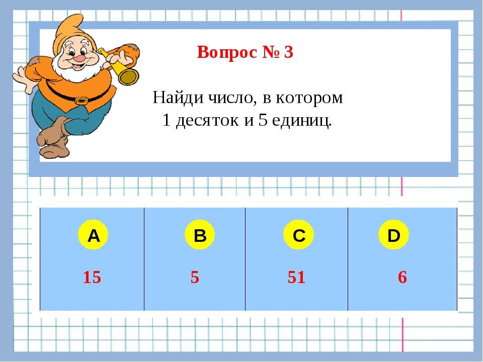 Вопрос № 3 Найди число, в котором 1 десяток и 5 единиц. A B C D  155516