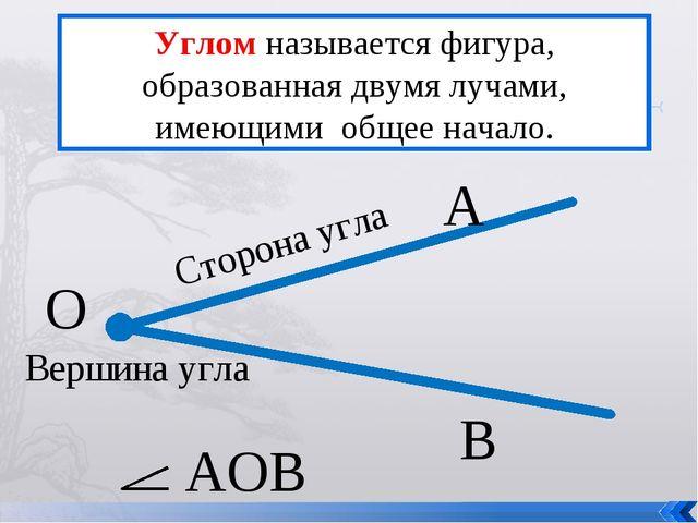 Углом называется фигура, образованная двумя лучами, имеющими общее начало. О...