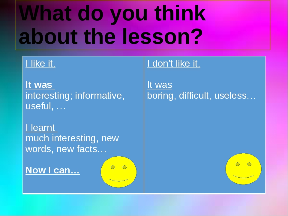 What do you think about the lesson? I like it. Itwas interesting; informative...