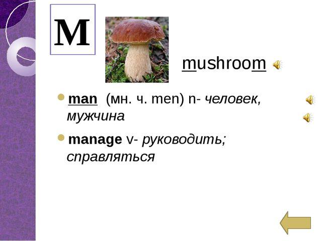 man (мн. ч.men)n-человек, мужчина managev-руководить; справляться M m...