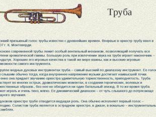 Труба Звонкий призывный голос трубы известен с древнейших времен. Впервые в о