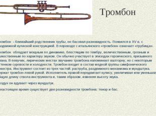 Тромбон Тромбон - ближайший родственник трубы, ее басовая разновидность. Появ