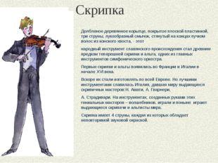 Скрипка Долбленое деревянное корытце, покрытое плоской пластинкой, три струны