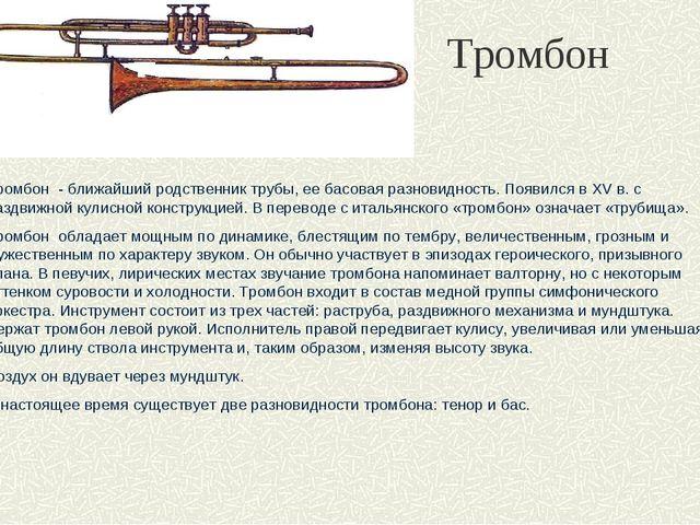 Тромбон Тромбон - ближайший родственник трубы, ее басовая разновидность. Появ...