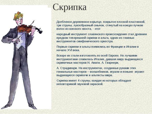 Скрипка Долбленое деревянное корытце, покрытое плоской пластинкой, три струны...