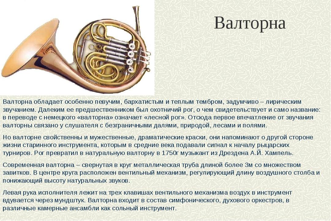 Валторна Валторна обладает особенно певучим, бархатистым и теплым тембром, за...