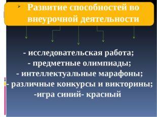 Развитие способностей во внеурочной деятельности - исследовательская работа;