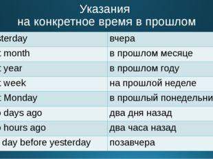Указания на конкретное время в прошлом yesterday вчера last month в прошлом м