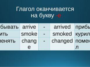 Глагол оканчивается на букву -е прибывать arrive - arrived прибыл курить smok