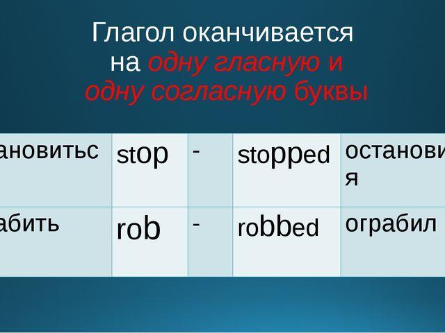 Глагол оканчивается на одну гласную и одну согласную буквы остановиться stop...