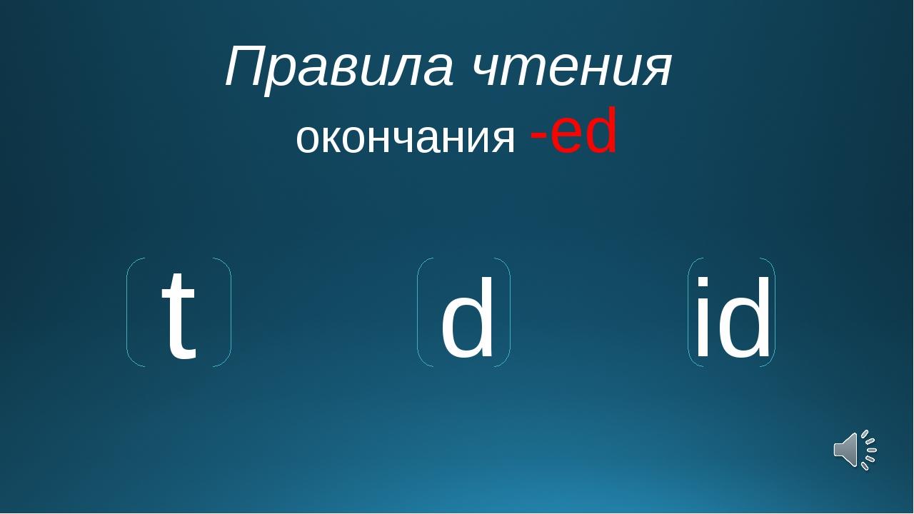 Правила чтения окончания -ed t d id