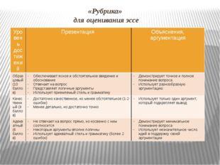 «Рубрика» для оценивания эссе Уровень достижений Презентация Объяснения, аргу