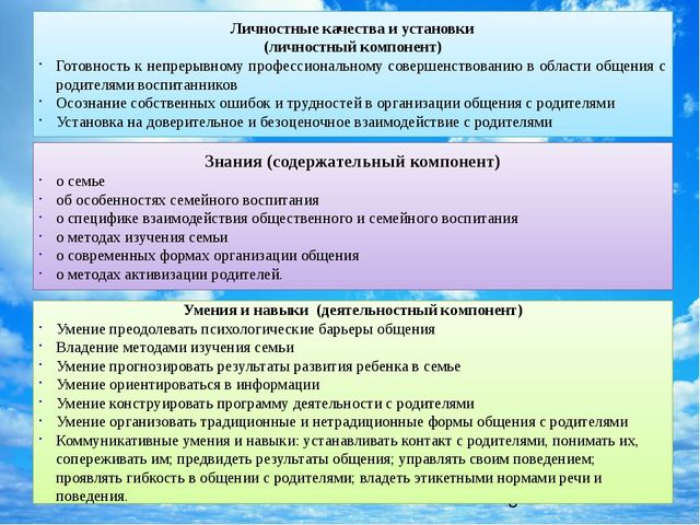 Личностные качества и установки (личностный компонент) Готовность к непрерыв...