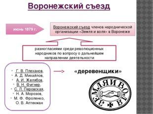 Воронежский съезд июнь 1879 г. Воронежский съездчленов народнической организ