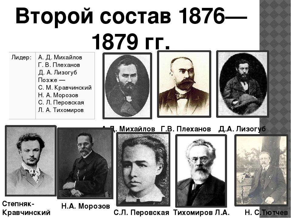 Второй состав 1876—1879 гг. А.Д. Михайлов Г.В. Плеханов Д.А. Лизогуб Степняк-...