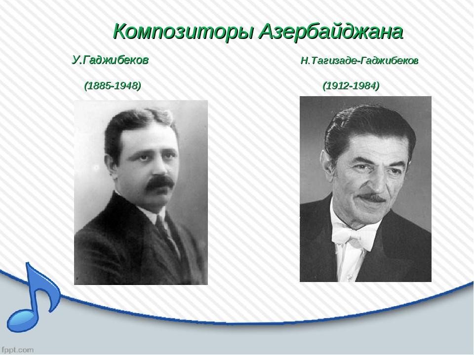 Композиторы Азербайджана У.Гаджибеков Н.Тагизаде-Гаджибеков (1885-1948) (191...