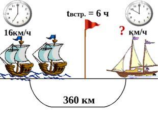 16км/ч ? км/ч 360 км tвстр. = 6 ч