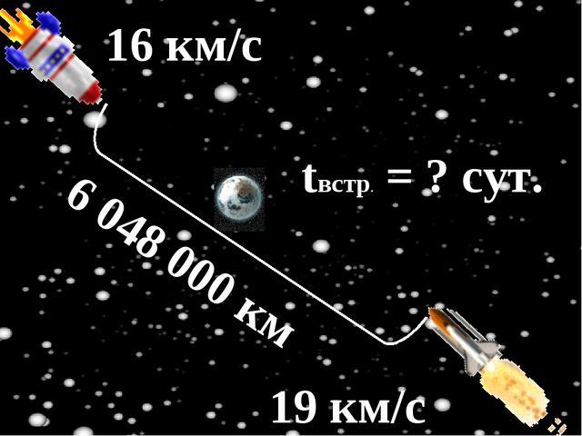 16 км/с 19 км/с tвстр. = ? сут. 6 048 000 км