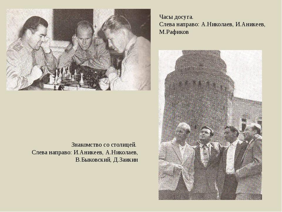 Часы досуга. Слева направо: А.Николаев, И.Аникеев, М.Рафиков Знакомство со ст...