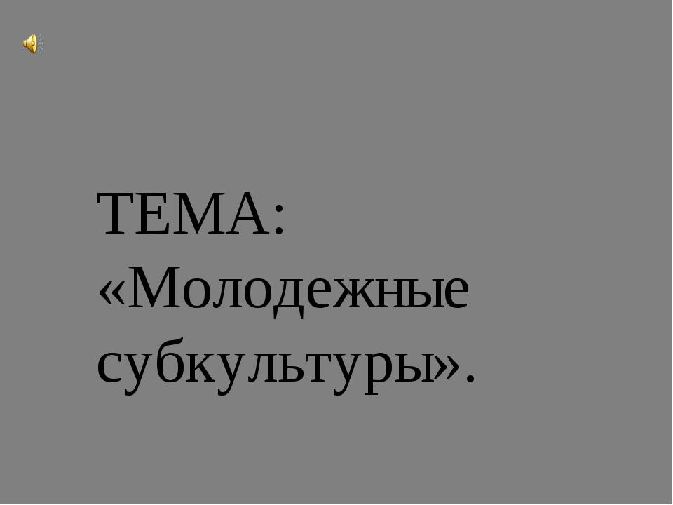 ТЕМА: «Молодежные субкультуры».
