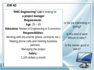 """JOB AD """"RMC Engineering"""" Ltd is looking for a project manager Requirements: A"""