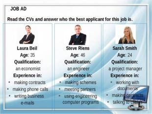 JOB AD Laura Beil Age: 35 Qualification: an economist Experience in: making c