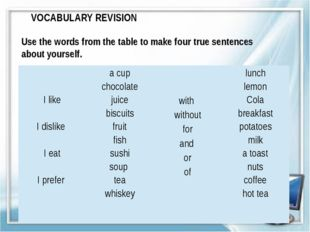 VOCABULARY REVISION Use the words from the table to make four true sentences