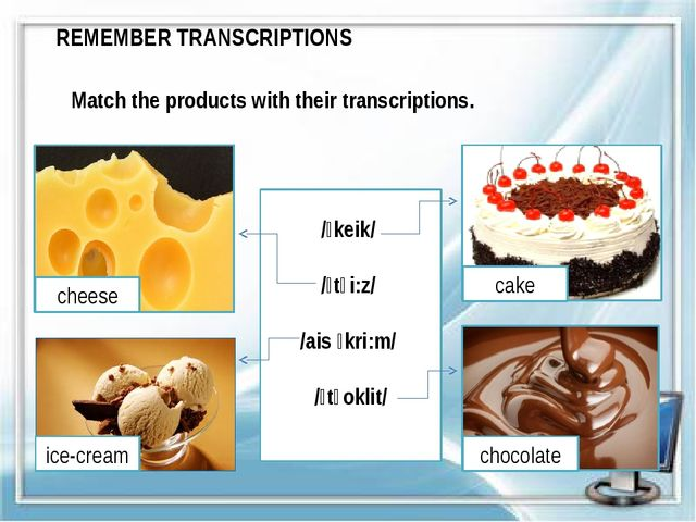 REMEMBER TRANSCRIPTIONS Match the products with their transcriptions. /ˈkeik/...