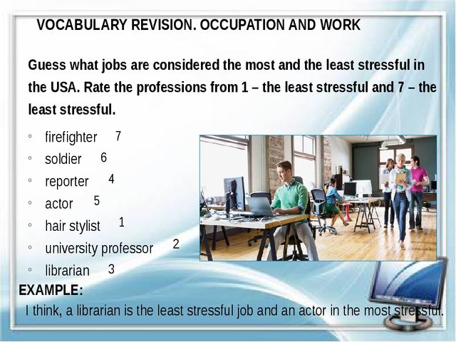 VOCABULARY REVISION. OCCUPATION AND WORK Guess what jobs are considered the m...