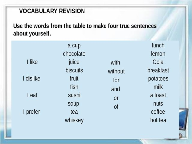 VOCABULARY REVISION Use the words from the table to make four true sentences...