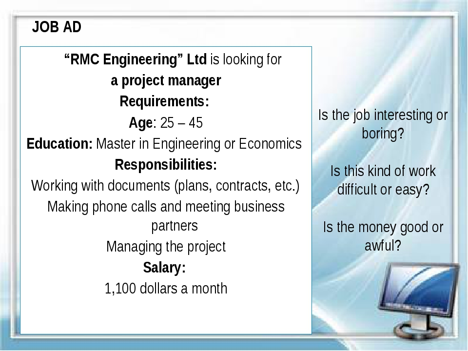 """JOB AD """"RMC Engineering"""" Ltd is looking for a project manager Requirements: A..."""