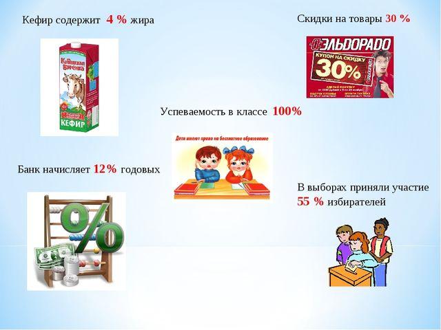 В выборах приняли участие 55 % избирателей Успеваемость в классе 100% Банк на...