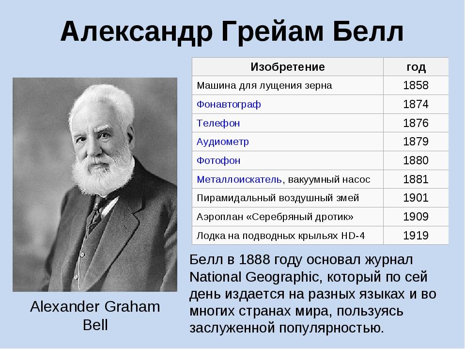 Александр Грейам Белл Белл в1888году основал журнал National Geographic, ко...