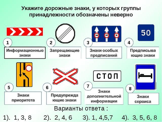 Укажите дорожные знаки, у которых группы принадлежности обозначены неверно Ва...