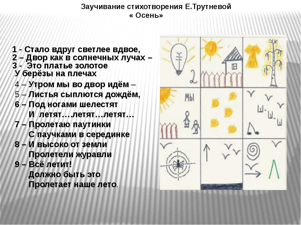 Заучивание стихотворения Е.Трутневой « Осень» 4 – Утром мы во двор идём – 5...