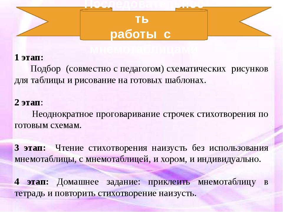 1 этап: Подбор (совместно с педагогом) схематических рисунков для таблицы и р...