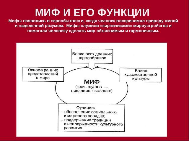 МИФ И ЕГО ФУНКЦИИ Мифы появились в первобытности, когда человек воспринимал п...