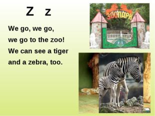 Z z We go, we go, we go to the zoo! We can see a tiger and a zebra, too. http