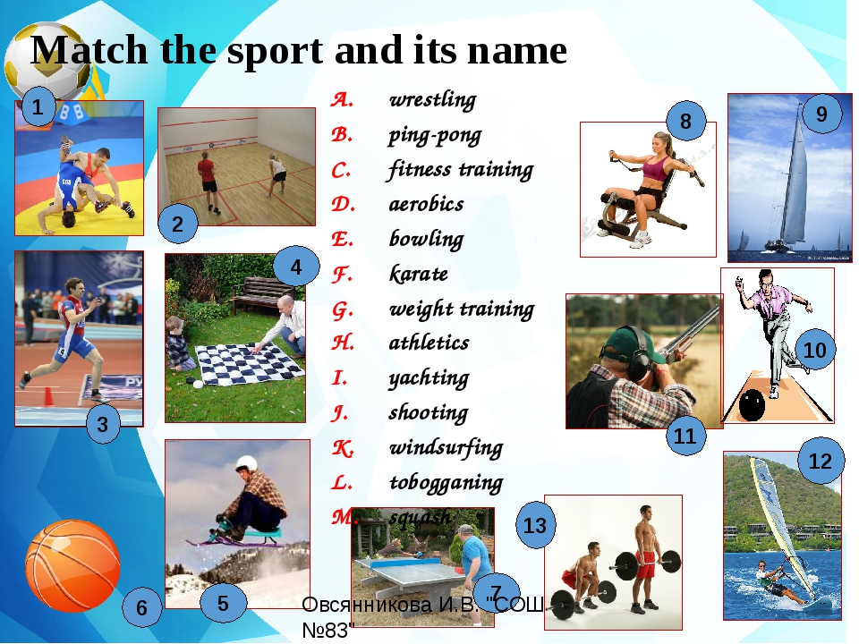 Match the sport and its name wrestling ping-pong fitness training aerobics b...