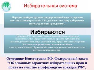 """Избирательная система Основание-Конституция РФ, Федеральный закон """"Об основны"""