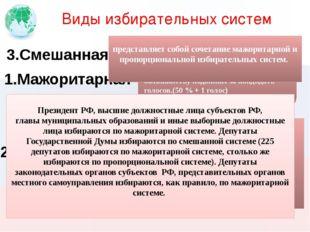 Виды избирательных систем 1.Мажоритарная 2.Пропорциональная проведение выборо