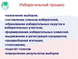 Избирательный процесс -назначение выборов, -составление списков избирателей,