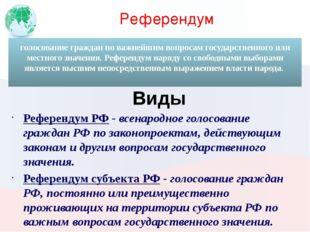 Референдум Референдум РФ - всенародное голосование граждан РФ по законопроект
