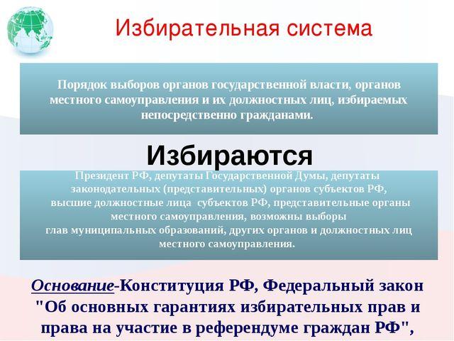 """Избирательная система Основание-Конституция РФ, Федеральный закон """"Об основны..."""