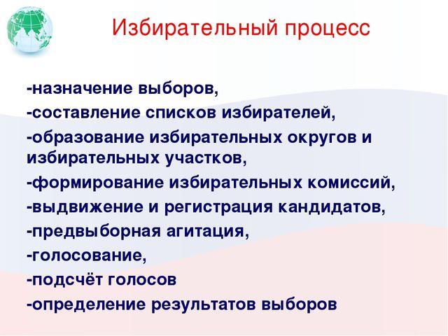 Избирательный процесс -назначение выборов, -составление списков избирателей,...