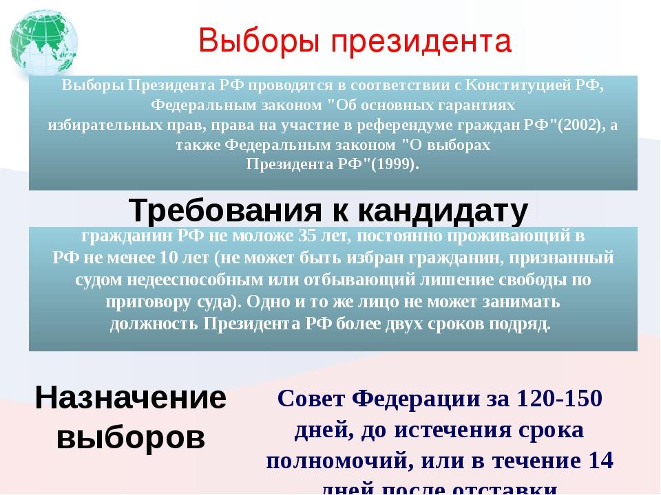 Выборы президента Совет Федерации за 120-150 дней, до истечения срока полномо...
