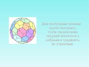 Для построения сечения нужно построить точки пересечения секущей плоскости с