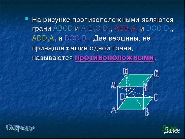 На рисунке противоположными являются грани ABCD и A1B1C1D1, ABB1A1 и DCC1D1,...