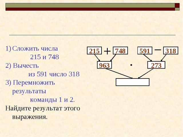 215 748 963 273 Сложить числа 215 и 748 2) Вычесть из 591 число 318 3) Перемн...